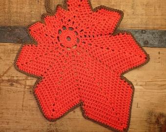 large handmade crochet leaf