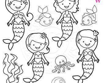 Mystical Mermaids Cute Digital Stamps, Mermaid Clip art, Mermaids, Mermaid Graphics, Cute Mermaid Line Art, Scrapbooking, Mermaid Images