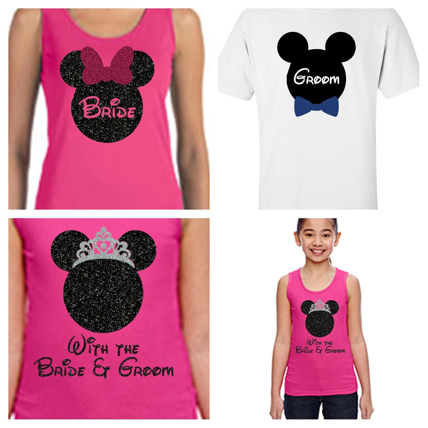Disney Bride and Groom 4-pack of Tanks and Tshirts. Disney