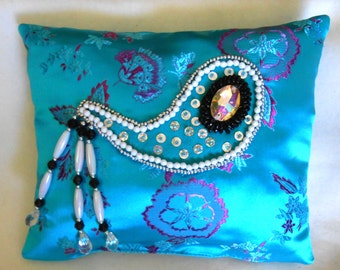 "Beaded Accent Pillow, 8""x9"" Turquoise Brocade with Beaded & Jeweled Paisley Applique with Beaded Tassels--FREE U.S. shipping"