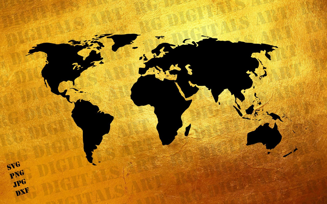 Gold world map svg gold world map svg clipart silhouette gold this is a digital file gumiabroncs Image collections