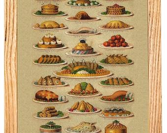 Vintage Game Platter Poster - vintage lithograph repro ~ Kitchen art ~ fruit chart ~ vintage kitchen art ~ cooking poster ~ Giclee Print