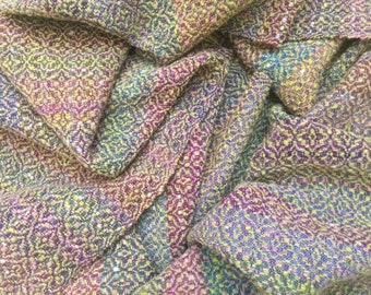 Handwoven Wool Fabric | Upholstery, bag making, hand-dyed handspun wool, worsted wool, overshot