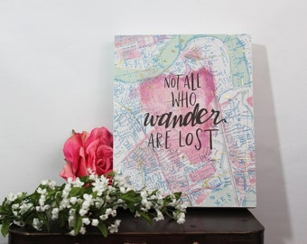Not All Who Wander Are Lost,Inspirational Quote,Framed Quotes,Framed Wall Art,Birthday Gift Her,Wood Signs,Maps,Mothers Day Gift,Maps&Globes