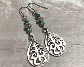 Silver Earrings, Blue Earrings, Rustic Earrings, Ethnic Earrings, Tribal Earrings, Embossed Earrings, Boho Earrings, Earthy Earrings, Nature