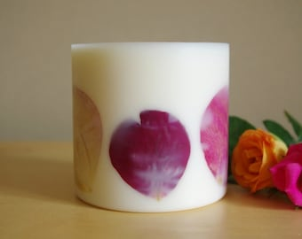 Rose Soy Wax Pillar Candle (Large)