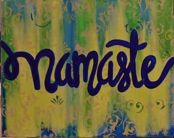 Namaste canvas art, yoga canvas art, original acrylic on canvas