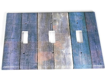 Triple Switchplate  Light Switch Cover  Switch Plate in Blue Barnwood  (282T)