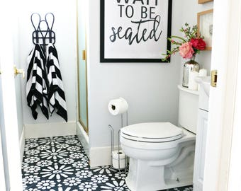 "Downloadable and Printable Artwork Bathroom ""Please Wait to be Seated"" Sign"