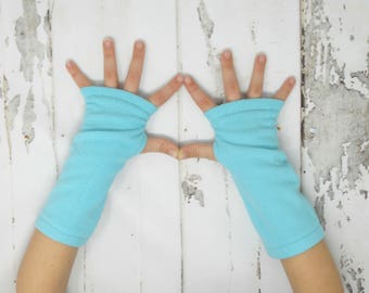 Turquoise/Teal Fleece Toddler/Child Arm Warmers, Kids Fingerless Gloves, Kids Arm Warmers, Biking Glove, Texting Gloves, Fingerless Mitts