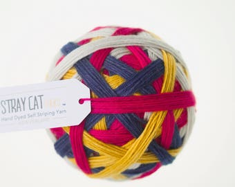 RAINBOW POMPOMS - vibrant hand dyed self striping sock yarn