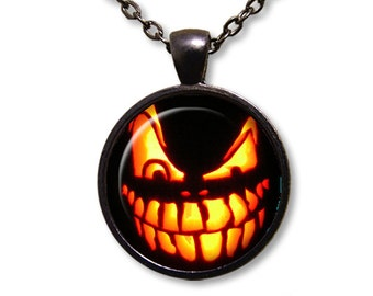 Wicked Pumpkin Face Jack O Lantern Glass Dome Pendant or with Chain Link Necklace