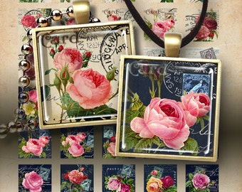 Printable download POSTAL ROSES Digital Collage Sheet 1x1 inch images for pendants bezel trays cabochon settings magnets ArtCult paper craft