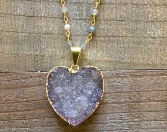 Druzy Heart Necklace