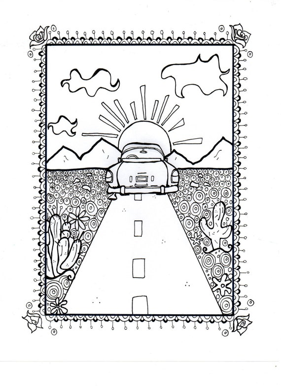 Route 66 Coloring Sheet Adult Kids