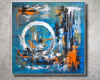 Original Abstract Painting Acrylic On Canvas,Abstract wall Art Decor,orange,blue, white.