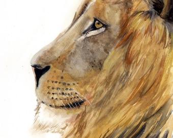 Lion Watercolor Painting, Animal Art, Lion Painting, Lion Watercolor, Lion Art, Nursery Art, Baby Lion Art, Lion Decor, Lion Print