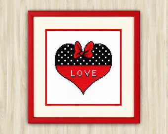 Buy 2 get 1 free Heart Love Cross Stitch Pattern PDF romantic gift lover red with black polka lovers embroidery Valentine Heart sweet heart