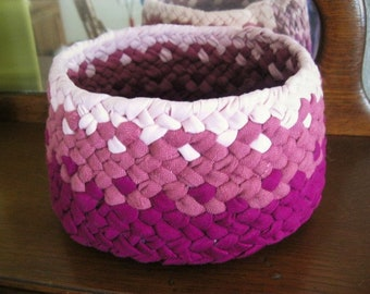 Ready To Ship Magenta Ombre Handmade Braided Cotton Catch all Fabric Basket / Bowl / for your Kitchen / Bathroom / Office / Bedroom