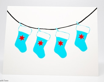 Chicago Christmas Holiday Stocking Card, set of 5, Hope to HANG with you soon!