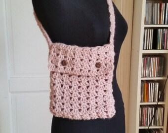 Bag, crochet bag in pink, wool bag, crossover, shoulder bag, wool bag, women's bag, girl bag