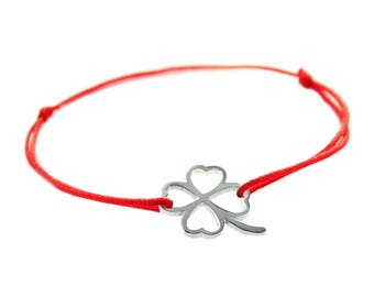 Sterling silver 925 red sting bracelet Clover have a sign (good Luck and happiness) the size is adjustable. Luck Bracelet. Israel  Bracelet.