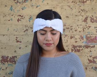 White Crochet Turban Headband