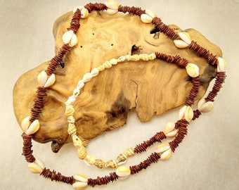 Boho Vintage Cowrie Shell and Appleseed Long Necklace -339V