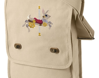 Steampunk Carousel Bunny Embroidered Canvas Field Bag