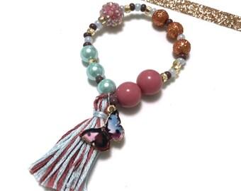 Mauve Butterfly Charm Bracelet - butterfly outfit, butterfly charm, butterfly jewelry, butterfly bracelet, mauve bracelet, mauve beads