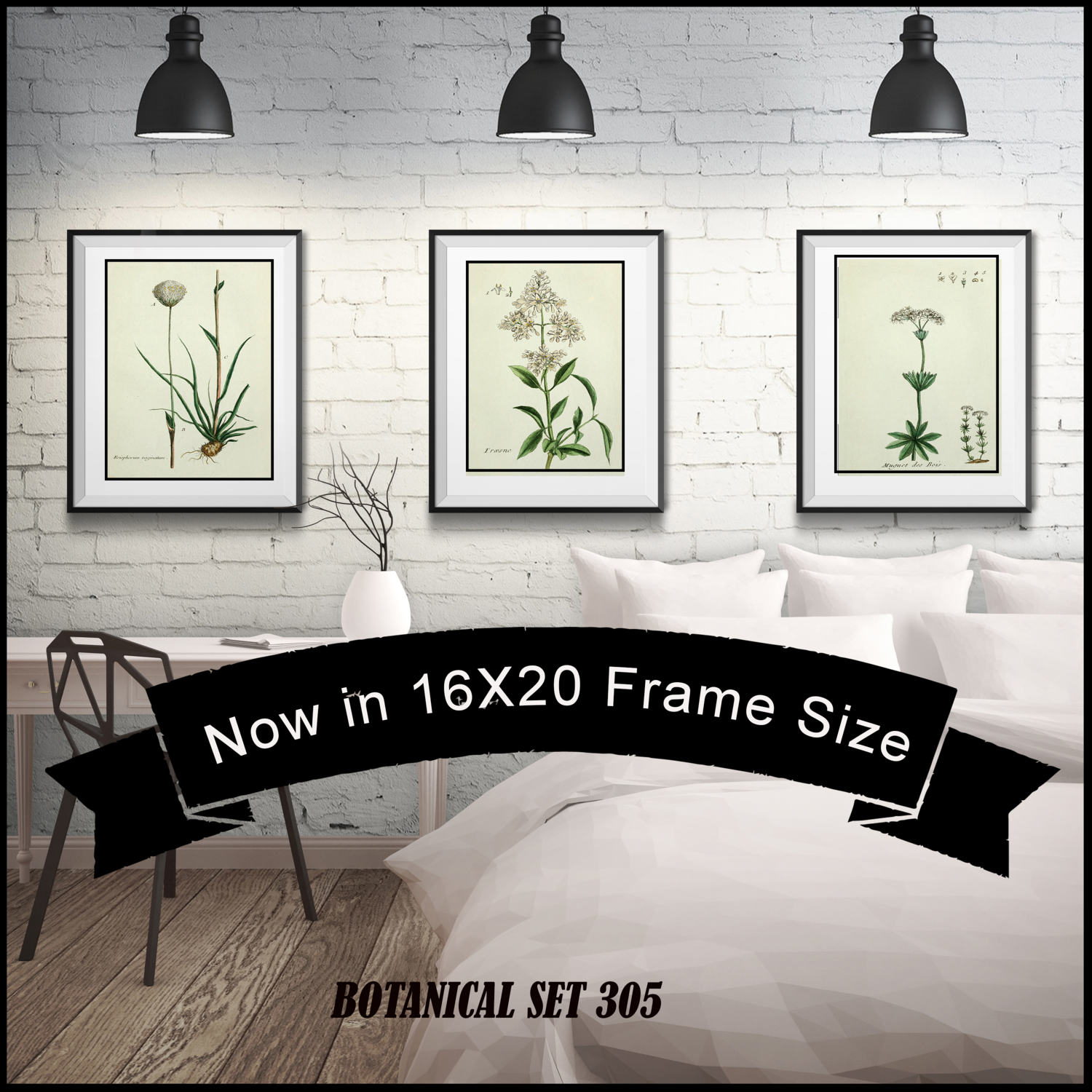 Set of 3 white flower botanical prints matted and framed 16x20 set of 3 white flower botanical prints matted and framed 16x20 frame size free shipping jeuxipadfo Gallery