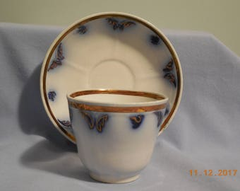 TULIP Flow Blue Gaudy Handless cup and saucer