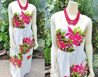 Vintage hawaiian maxi dress/ vintage hawaiian dress/ summer dress/ flowerd hawaiian dress/ size L vintage dress/ vintage lined cotton dress