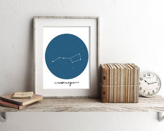 Big Dipper Print, Summer Decor, Night Sky, Downloadable Print, Star Poster, Navy Blue, Gift, 8x10 Print, 11x14 Print