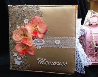 Scrapbook album 12x12,  Personalize  album, Shabby Album, Wedding photo album, Romantic photo album, Family Album