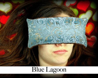 Handmade Eye Pillow - Yoga/Therapy - Microwavable - Flax Seed Fill - Satin Brocade/Crushed Velvet - Optional Lavender Scent - Blue Lagoon