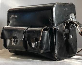 NIKON, Vintage camera bag, Japan, black patent leather, 3 lens plate