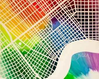 Canvas - New Orleans Colorful Map