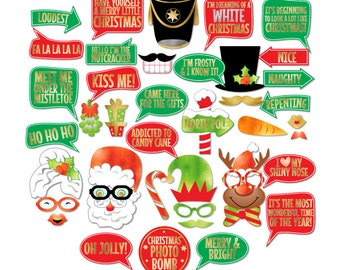 44 Funny Christmas Photo Booth Props - Gold Foil Christmas Props - Adults and Children - INSTANT DOWNLOAD - DIY Printable (High-Res Jpeg)
