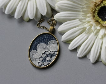 Denim And Lace Necklace, Large Oval Pendant, Rustic Wedding, Boho Jewelry Gift For Women, Vintage And Recycled