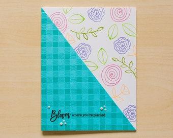 Greeting Card   Handmade Card   Just Because card   Blank Inside Card  