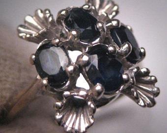 Antique Sapphire Ring White Gold Vintage Retro Art Deco c.1930-50s