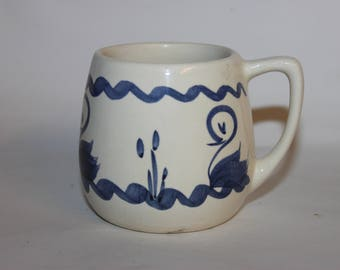 Welsh vernacular pottery mug, blue and white ducks and geese, folk art, some crazing