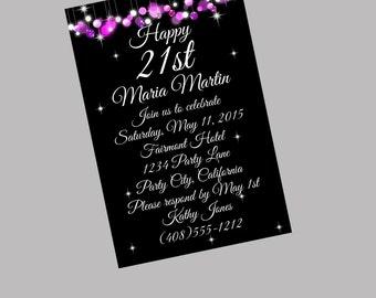 21st Birthday Invitation, 21st Birthday Party, Pink Black Invitation, Printable Invite