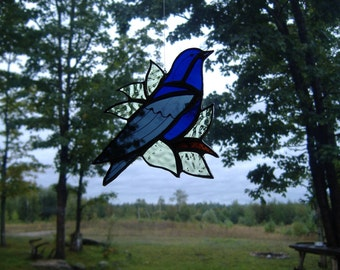 purple martin/leaves stained glass suncatcher