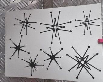 Retro stars stickers