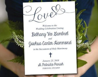 "Catholic Wedding Program Template - Printable Fold Over Ceremony Program Download ""Love"" Script Order of Ceremony - DIY Wedding Dark Navy"