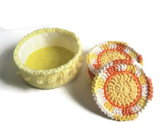 Bright and Colorful Crochet Coaster Set, Cotton Coasters with Yellow Holder, Set of Six Mug Rugs