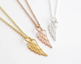 angel necklace wing gold rose pendant