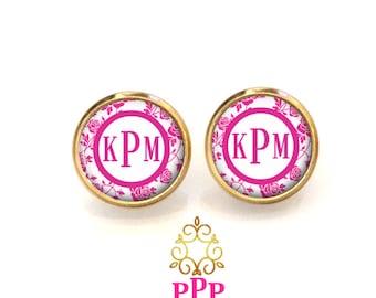 Roses Monogram Earrings, Monogram Stud Earrings, Monogram Jewelry, Personalized Earrings (490)